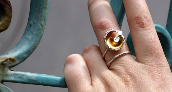 Real Sea Shell and Murano glass Ring for Women Gold plated silver Ring Beach and Summer Jewelry for Her Summer Wedding Jewelry