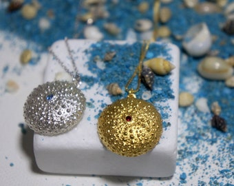 Real Sea Urchin Necklace Goldplated cast in sterling recycled silver 925
