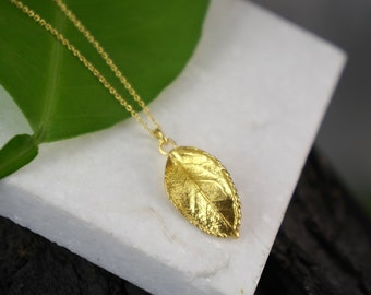 Pressed flower necklace Leaf Necklaces for Women,Rose plant necklace Goldplated on sterling silver