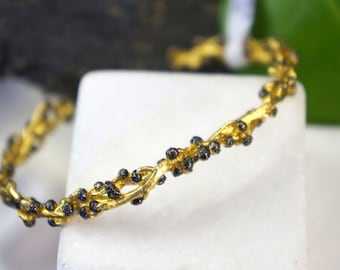 Real Acacia Branch with buds Bracelet casting Gold and Black in sterling recycled silver 925.