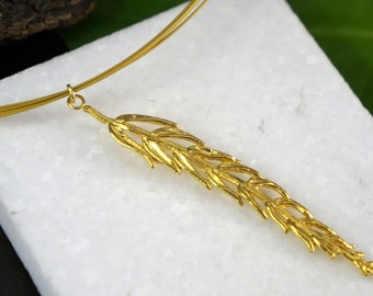 Leaf Necklace for Women Goldplated on sterling silver 925 by  Mother nature  jewels, Botanical Chain or Multi Strand Cable Necklace