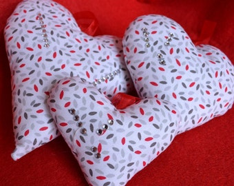 Group 3 Hearts fabric decorations, Christmas ornaments