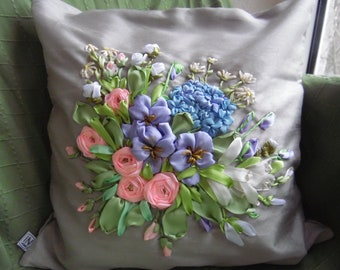Ribbon Embroidered Romantic Pillow Cover