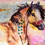 Buckskin War Horse Original ooak Watercolor Feathers