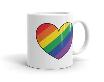 Rainbow Heart Pride Mug, Rainbow, LGBTQ, Queer, Coffee, Tea, Pride Gift, Coming Out, Bisexual, Gay, Lesbian, Trans, Ace,