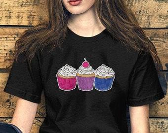 Bisexual Pride Cupcakes Unisex T-Shirt, Bisexual, Queer, Bi Pride