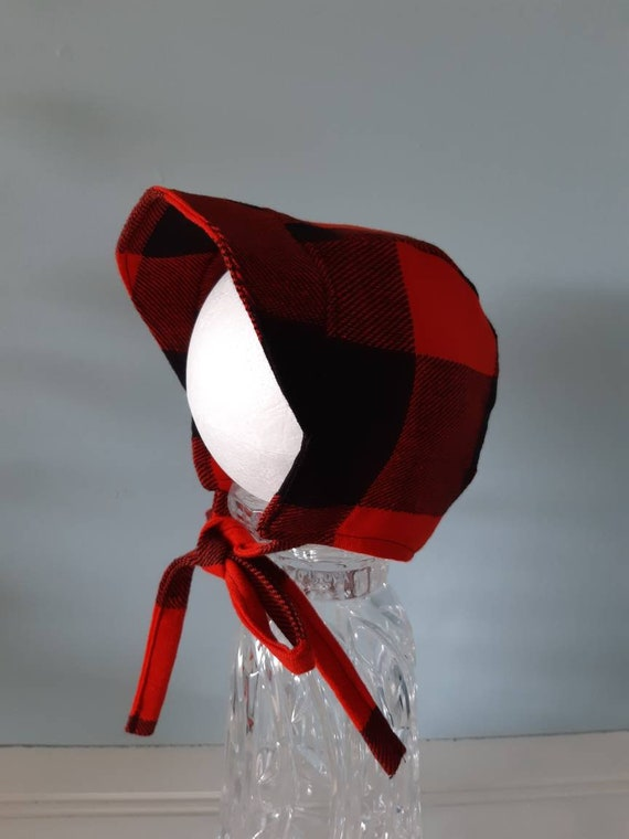 Buffalo Plaid Bonnet Black and Red Plaid Baby Bonnet 3-6 M Ready to Ship