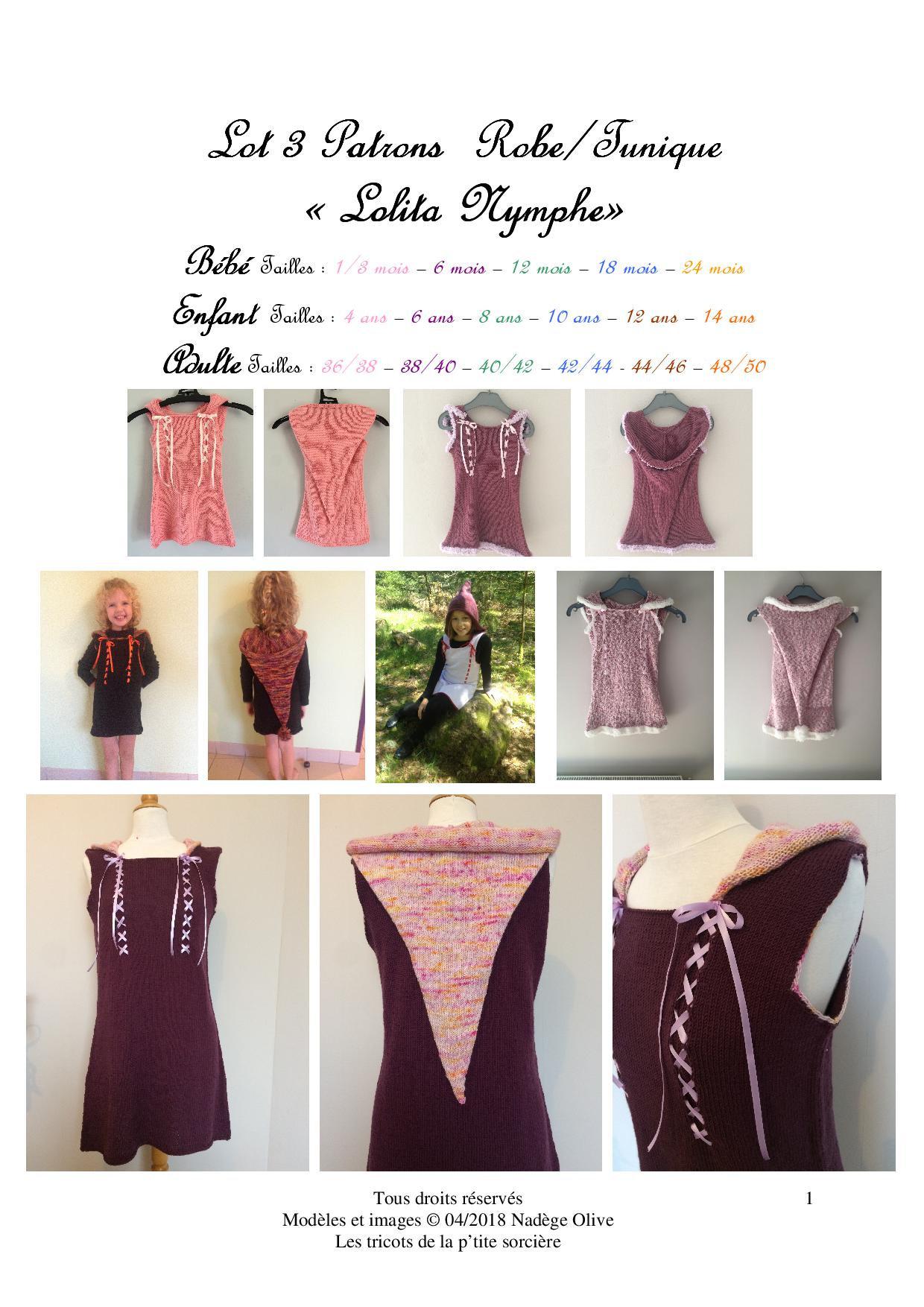 f2508ec757bb Lot de 3 patrons robe Lolita Nymphe bébéenfant et