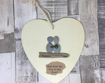 pebble art, hanging heart, wall art, pebbles, couple, key to my heart, personalised, personalized, beach, heart, anniversary, engagement