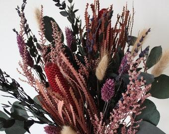 Dried flower bunch, Banksia pink, Eucalyptus