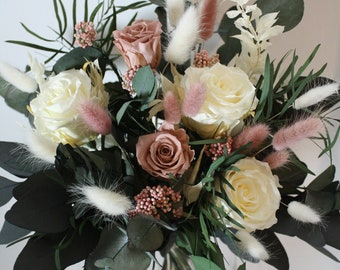 Preserved flower bunch, Champagne and pink roses, home decoration, gift