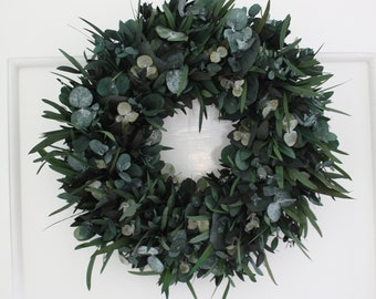 Real flower - Wreath - Preserved/dried flowers - Eucalyptus - Indoor wreath