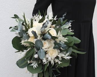 Real flower - Wedding bouquet - Preserved flowers - Dried flowers - Cream and eucalyptus