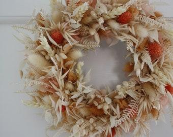 Dried flower wreath - Creamy peach - Indoor wreath