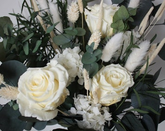 Preserved flower bunch, Eucalyptus and champagne roses, home decoration, gift