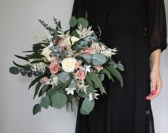 Real flower - Wedding bouquet - Preserved flowers - Dried flowers - Cream and mauve pink