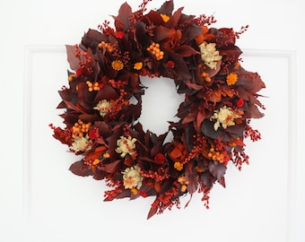 Preserved flower and Dried flower wreath - red leaves