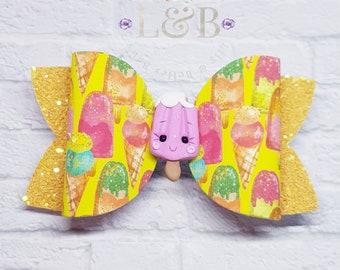 ice lolly hair bow, ice lolly bow, ice cream bow, large clip.