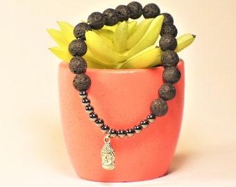 Mens Lava Stone Buddha Bracelet | Black Lava Stone | Hematite | Buddha Jewelry | Buddhism Bracelet
