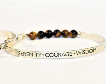 Tiger Eye Bangle | Serenity Courage Wisdom | Tiger's Eye Stone | Words Bracelet | Bangle Bracelet | Gemstone Jewlery | GIfts For Her