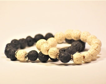 His And Hers - Yin & Yang Lava Stone Beaded Bracelet Set