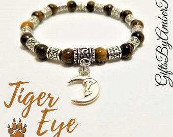 Tiger Eye Bracelet With Moon Charm | Tiger Eye Jewelry | Gemstone Jewelry | Sun And Moon Jewelry | Moon Bracelet