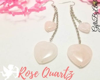 Rose Quartz Hearts Dangle Earrings | Valentines Day Jewelry | Gemstone Hearts | Gemstone Jewelry | Valentines Gift For Her
