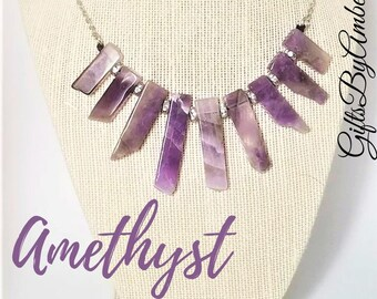 Amethyst Point Necklace | Amethyst Stick Necklace | Gemstone Jewelry | February Stone
