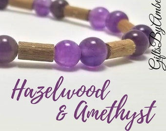 Pure Hazelwood and Amethyst Stone Stretch Bracelet | Healing Bracelet