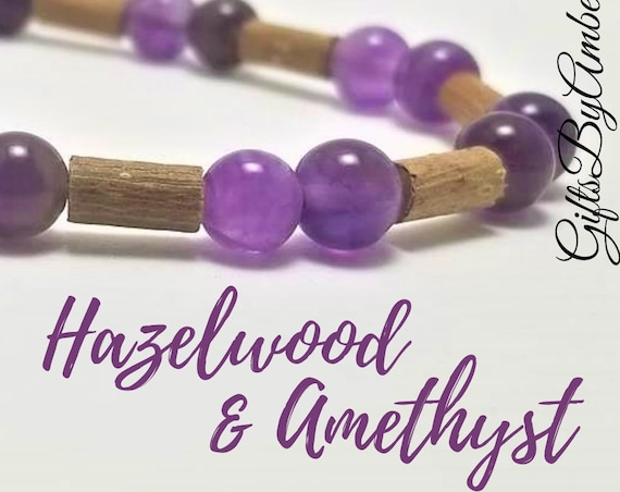 Pure Hazelwood and Amethyst Stone Stretch Bracelet   Healing Bracelet