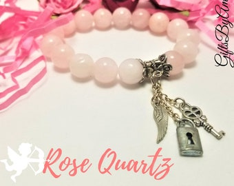 Rose Quartz Charm Bracelet | Lock Key Wing Charms | Rose Quartz Gemstone Bracelet