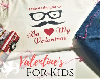 Mustache Valentines Kids Tshirt | Mustache Shirt | Cute Funny Valentines Shirt | Valentines Day For Kids
