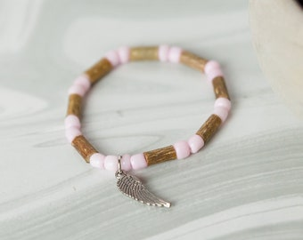 Pure Hazelwood Angel Wing Baby Bracelet Anklet   Natural Teething Relief   Baby Jewelry   Teething Bracelet   Infant Jewelry
