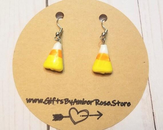 Candy Corn Dangle Earrings | Halloween Jewelry | Fall Autumn Jewelry | Fall Earrings | Candy Corn Jewelry | Fun Fall Accessories