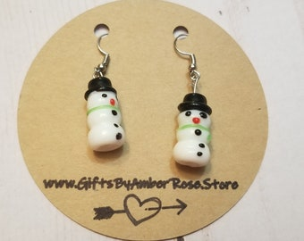 Holiday Snowman Earrings | Christmas Earrings | Festive Jewelry | Snowman Accessories | Stocking Stuffer