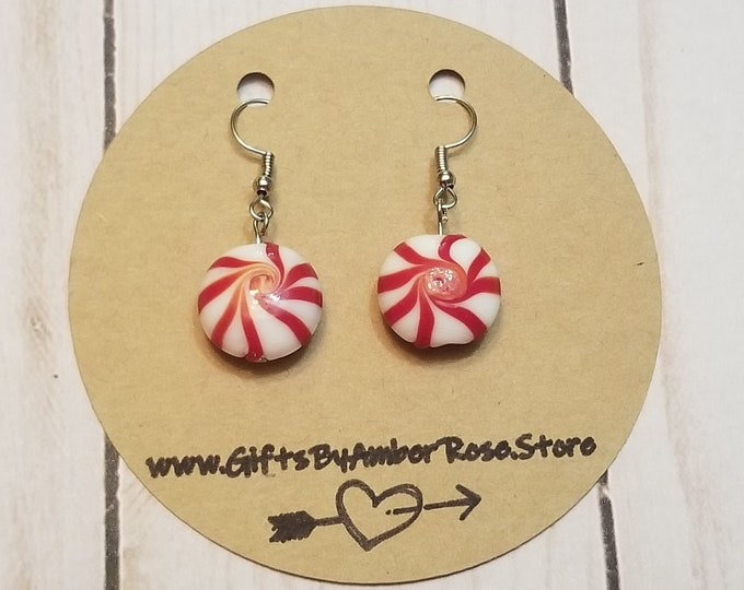 Featured listing image: Holiday Peppermint Earrings | Christmas Earrings | Festive Earrings | Stocking Stuffers | Candy Cane Earrings