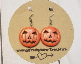 Jack O Lantern Earrings | Halloween Earrings | Pumpkin Earrings | Fall Jewelry | Fall Accessories | Halloween Jewelry | Halloween Accessory