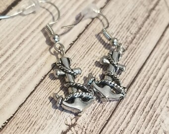 Silver Anchor Dangle Earrings | Nautical Jewelry | Nautical Earrings | Sailor Jewelry | Pirate Jewelry