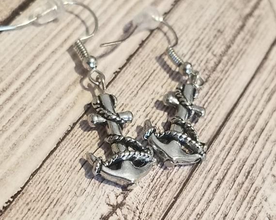 Silver Anchor Dangle Earrings | Nautical Jewelry | Nautical Earrings | Sailor Jewelry | Pirate Jewelry