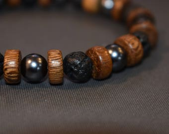 Mens Black Lava Stone Beaded Stretch Bracelet with Wooden And Black Beads