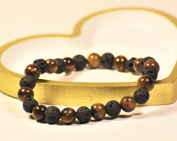 Men's Black Lava Stone Tiger Eye Stretch Bracelet | Mens Healing Jewelry | Mens Stone Bracelet | Balance | Grounding