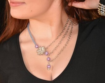 Crystal Flower Asymmetrical Chain Necklace