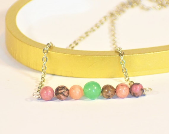 Aventurine and Rhodonite Gemstone Necklace | Heart Chakra Necklace