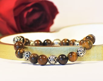 Tiger Eye and Silver Spacer Stretch Bracelet | Gemstone Jewelry | Tigers Eye Jewelry | Gemstone Bracelet | Tiger Eye Bracelet