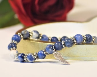 Simple Sodalite and Wing Charm Stretch Bracelet | Sodalite Jewelry | Sodalite Stone | Gemstone Jewelry | Gemstone Bracelet |Angel Wing Charm
