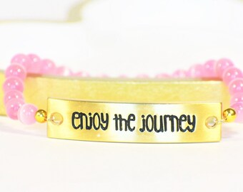 Enjoy The Journey | Traveler Bracelet | Gold and Pink | Travel Lover Jewelry | Adventurer Jewelry | Wanderlust Bracelet | Inspirational