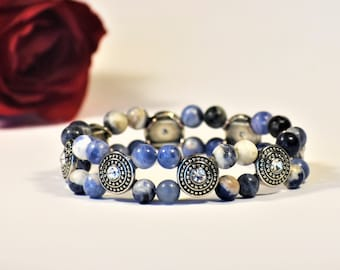 Sodalite Beaded Bling Stretch Bracelet | Sodalite Jewelry | Gemstone Jewelry