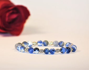 Sodalite Stone Simple Beaded Stretch Bracelet | Sodalite Jewelry | Sodalite Bracelet | Simple Bracelet |Gemstone Jewelry | Gemstone Bracelet
