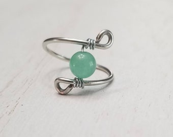Green Aventurine Wire Wrapped Ring | Aventurine Jewelry | Gemstone Ring | Wire Jewelry | Statement Ring | Aventurine Ring | Crystal Ring