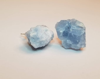 Raw Blue Calcite Earrings | Crystal Stud Earrings | Crystal Jewelry | Gemstone Jewelry | Raw Stone Jewelry